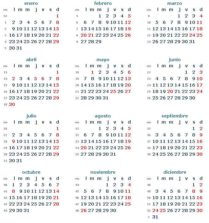 Calendario argentina 2012 nuestromar - Cuantas semanas tiene un mes ...