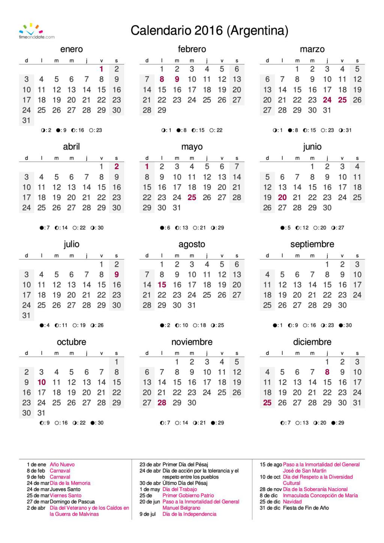 Calendario 2016 Argentina.Calendario Argentina 2016 Nuestromar