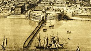 Fotoilustración de una litografía del siglo XIX que muestra el edificio de la nueva aduana de Buenos Aires, destinado a depósito, y</div> <div class=