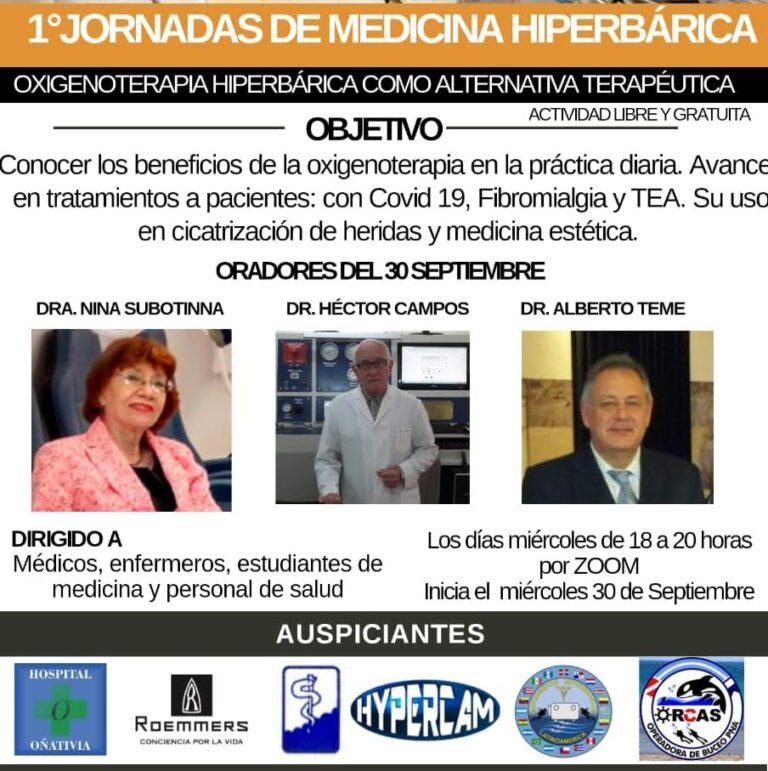 Inician hoy las 1° Jornadas online de Medicina Hiperbárica y del Buceo en Argentina con expositores internacionales